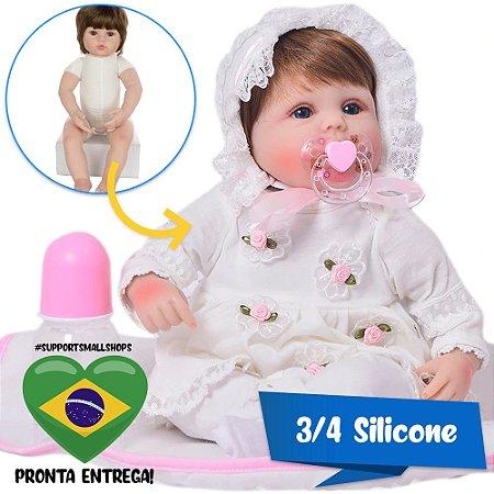 Bebê Reborn Luiza 42cm 3/4 Silicone com Enxoval Floral - Pronta Entrega!