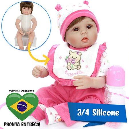 Bebê Reborn Daniela em 3/4 Silicone 42cm - Pronta Entrega!