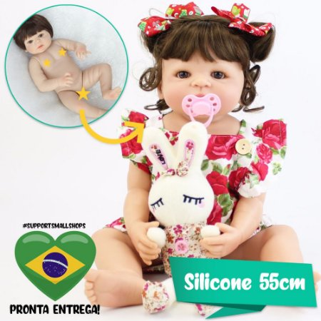 Bebê Reborn Sophia Silicone 55cm com Coelho Pelúcia - Pronta Entrega!