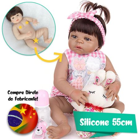 Bebê Reborn Luiza 55cm Corpinho Inteiro em Silicone