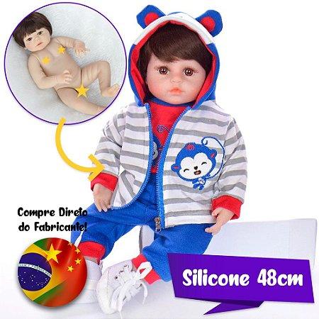 Bebê Reborn Luiz 48cm Todo em Silicone (Pode dar Banho)