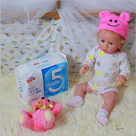 Bebê Reborn Evelyn 50 cm Corpinho Todo em Silicone