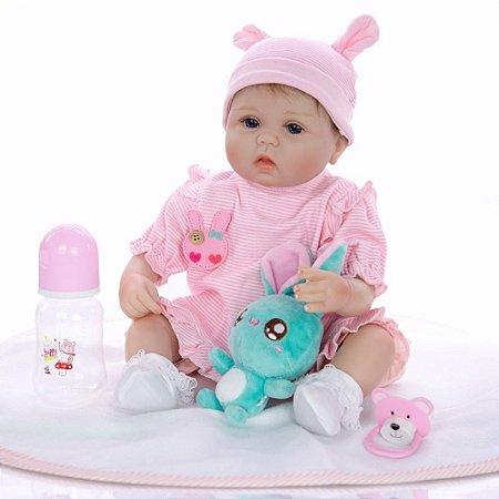 Bebê Reborn Evelyn 42 cm Corpinho em Pano