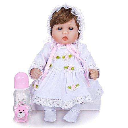 Bebê Reborn Elena 42 cm Corpinho em Pano