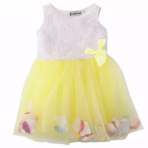 99cfb6297f1 Vestido Infantil 9 a 12 meses em algodão elastano e malha leve cor amarelo
