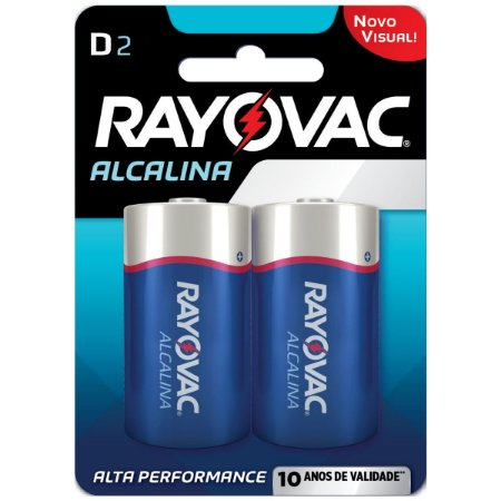 Pilha Alcalina Rayovac D (Grande) - Cartela com 2 Pilhas