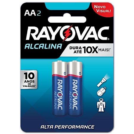 Pilha Alcalina Rayovac AA (pequena) - 1 Cartela com 2 Pilhas