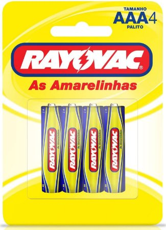 Pilhas Zinco Rayovac AAA (palito) - Cartela com 4 Pilhas