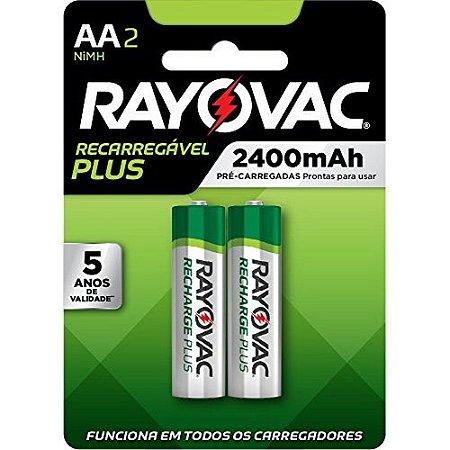 Pilha Recarregável Rayovac Plus AA SPL715-2LA - 2 Pilhas