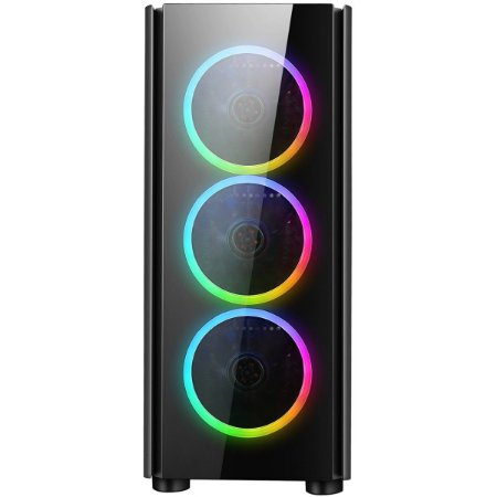 Gabinete Gamer Liketec Streamer V2 RGB com 3 Fans Vidro Preto