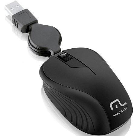 Mouse Óptico Retrátil Multilaser 1200Dpi Usb Preto- MO231