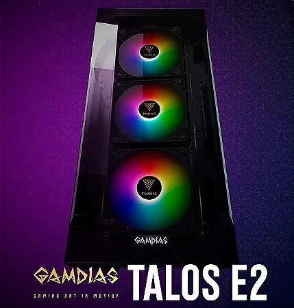 GABINETE GAMDIAS GAMER TALOS E2 ELITE PRETO COM FAN TALOS E2 ELITE C/FAN