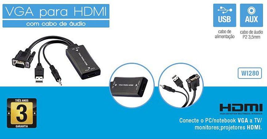 Cabo Vga Para Hdmi C/ Audio Multilaser Wi280
