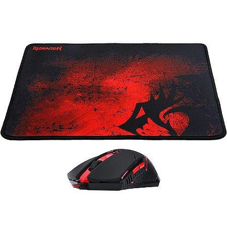 Kit gamer mouse centrophorus + mousepad m601ba redragon