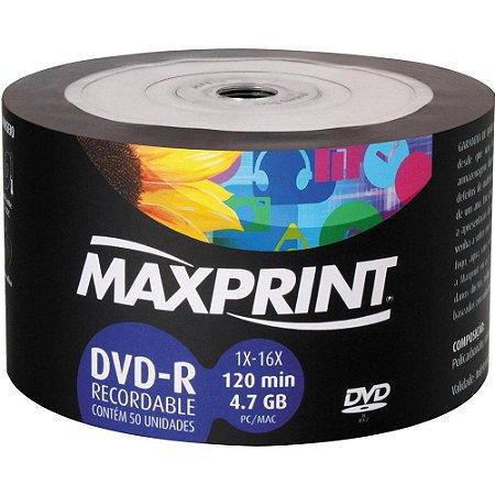 Midia grav.Max dvd-r 4.7gb 16x bulk 16x max 50 un
