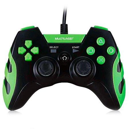 Controle Gamer Ps3/pc Preto/verde Multilaser Js091