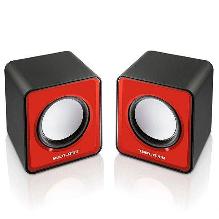 Caixa De Som 2.0 Mini 3w Rms Vermelho Multilaser Sp197