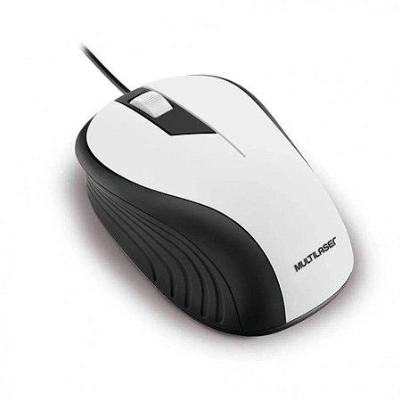 Mouse emborrachado branco e preto com fio usb multilaser mo224
