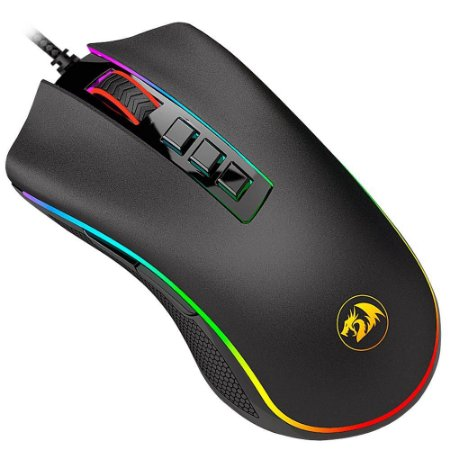 MOUSE GAMER REDRAGON COBRA PRETO COM LED RGB M711