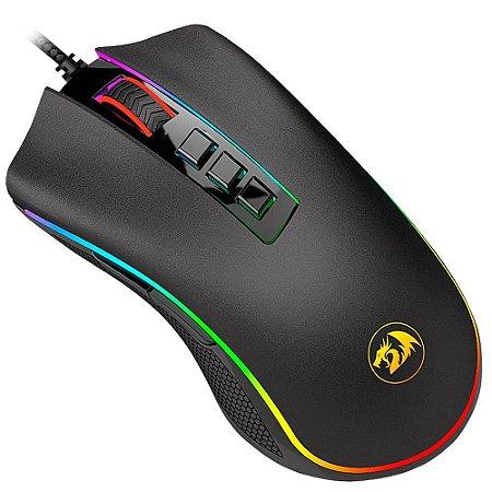 Mouse gamer redragon cobra preto com led rgb m711