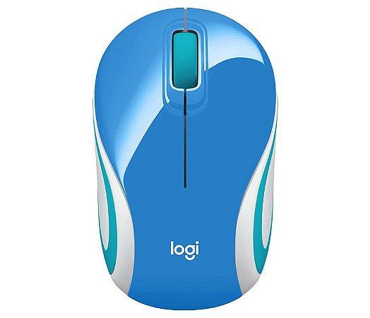 mouse mini sem fio receptor nano m187 azul logitech