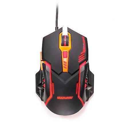 Mouse Gamer Multilaser 2400 Dpi Preto E Laranja Mo270