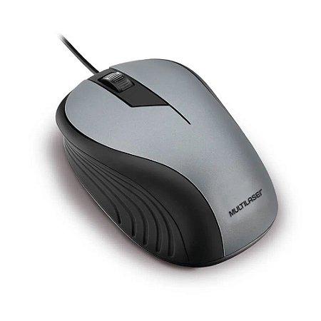 Mouse Emborrachado Cinza/Preto Usb Multilaser Mo225