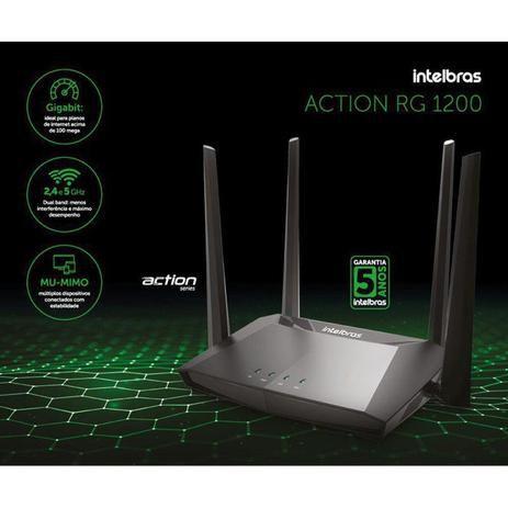 Roteador Wireless Intelbras Action RG 1200 Gigabit Dual Band 867Mbps