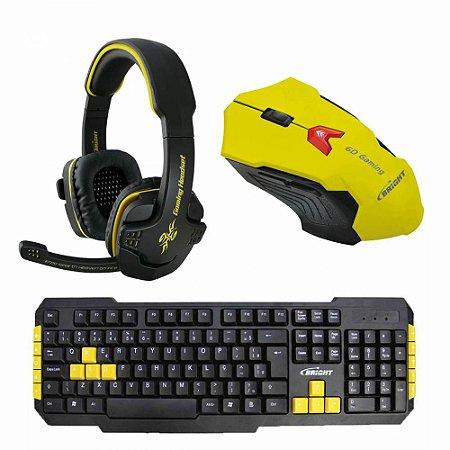 Kit Combo Gamer Mouse + Teclado + Headset - IG 01