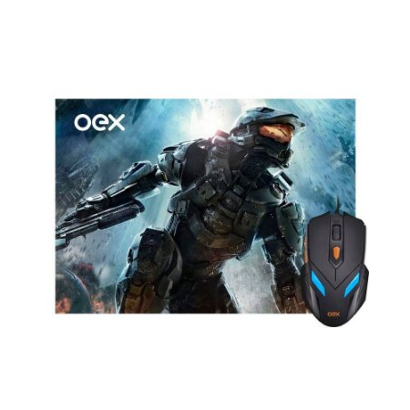 Kit Gamer Mouse Luminoso 07 Cores 2400DPI + Mousepad Antiskid - OEX  MC100