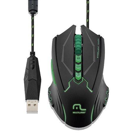 Mouse Gamer Metal War 8 Botões 2500dpi USB com LED - Multilaser MO218