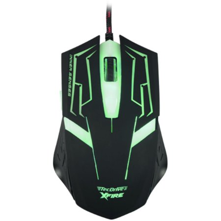 Mouse Gamer 3200 DPI 7 Botoes Xfire Led Verde - TecDrive Skanda