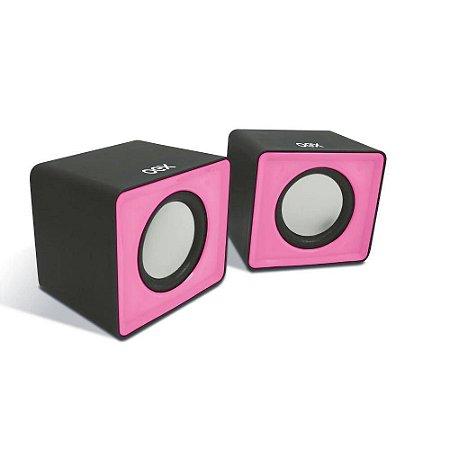 Caixa de Som Speaker Cube Preto/Rosa - OEX SK102