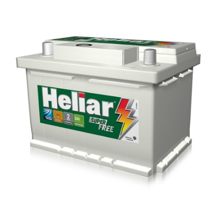 Bateria Heliar 60Ah Super Free – HF60HD ( Cx. Alta ) – 24 Meses Garantia