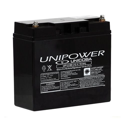 Bateria Estacionária VRLA ( AGM ) Unipower 12V – 18Ah – UP12180