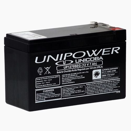 Bateria Estacionária VRLA ( AGM ) Unipower 12V – 7Ah – UP1270SEG