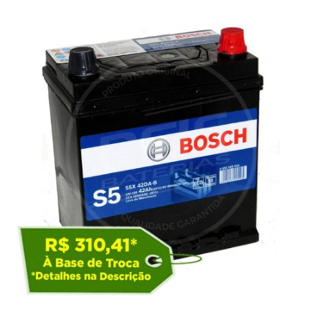 Bateria Bosch 42Ah ( Fit e Picanto ) - S5X42DA-B - 18 Meses de Garantia