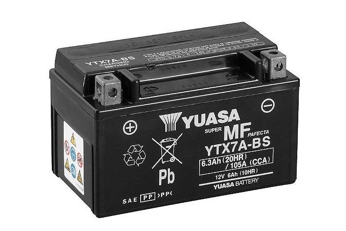 Bateria de Moto Yuasa 6,3Ah - Ytx7A-Bs