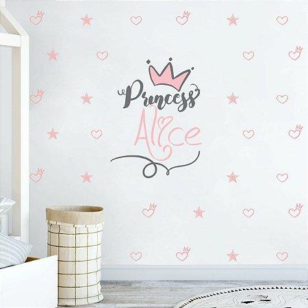 Adesivo de Parede Princesa com nome personalizado