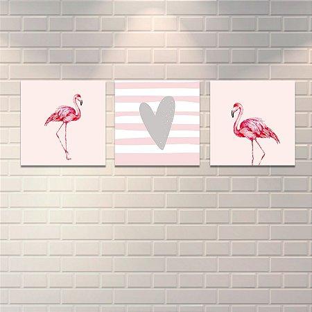 Quadros Decorativos Flamingos Mod2 34x34cm cada