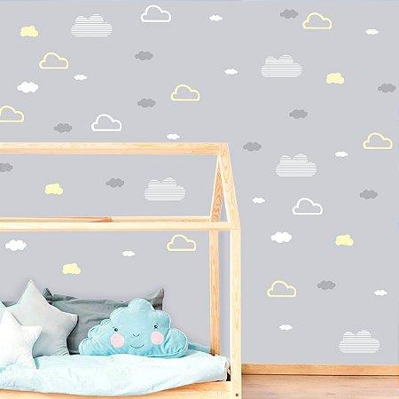 Adesivo de Parede Nuvens Brancas, Amarelas e Cinzas