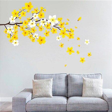 Adesivo de Parede Pluméria Amarela e Branca
