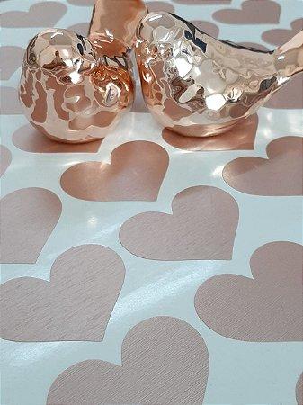 Adesivo de Parede Corações Rosê Aço Escovado - 120unid
