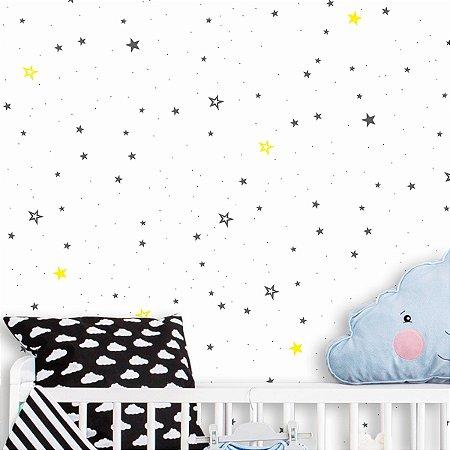 Papel de Parede Adesivo Estrelas fundo branco