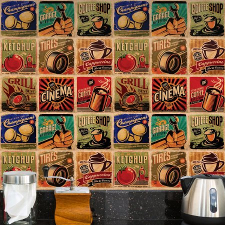 Adesivo de Azulejo Retrô Coffee 27 peças