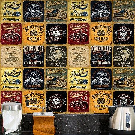 Adesivo de Azulejo Retrô Motorcycle 27 peças