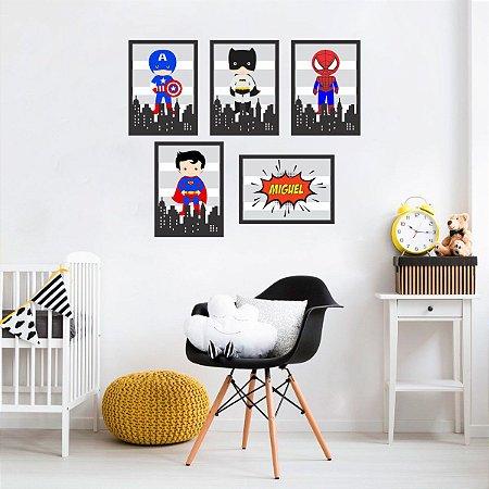 Quadros Super Heróis Baby para quarto infantil - preto