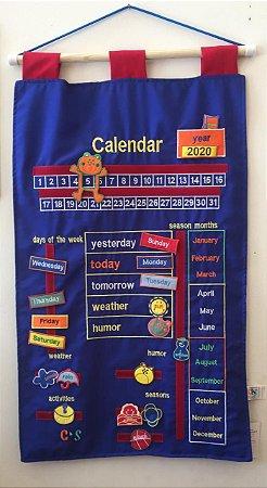 Calendário Inglês Bordado - Azul