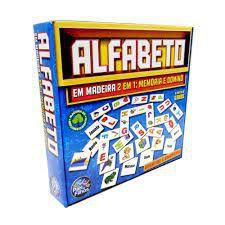 Jogo 2 em 1 - Alfabeto - Memoria e Dominó - Madeira