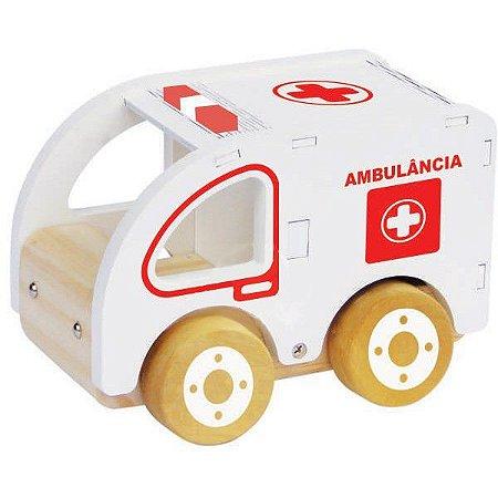 Coleção Carrinhos Ambulância de madeira